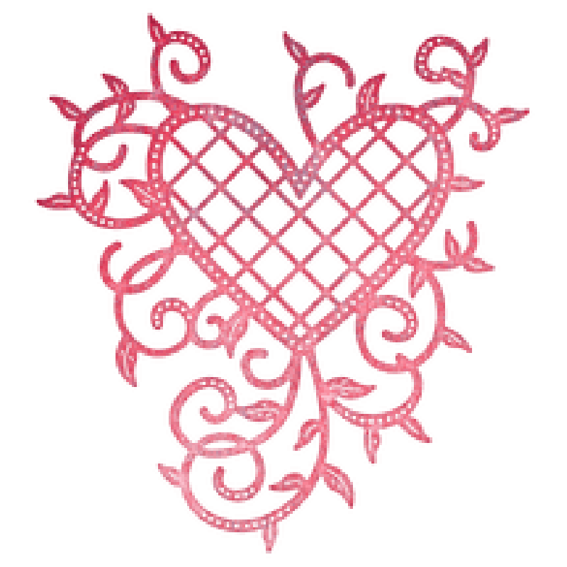 Gitter hjerte og vinstokke dies- Lattice heart & vines