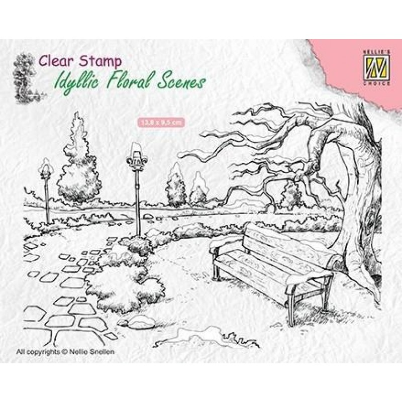 Wintery park with bench - Stempel